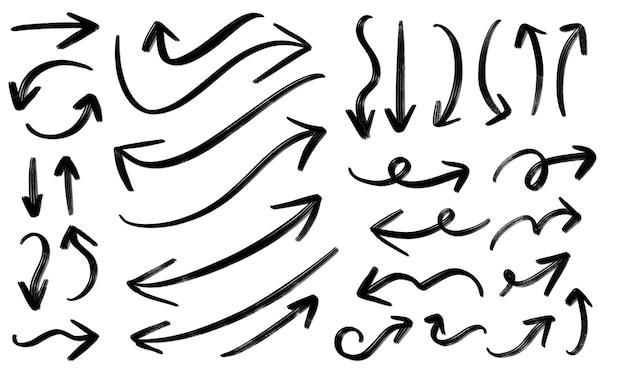 Spazzola della freccia grande raccolta dell'insieme disegnata a mano Vettore Premium