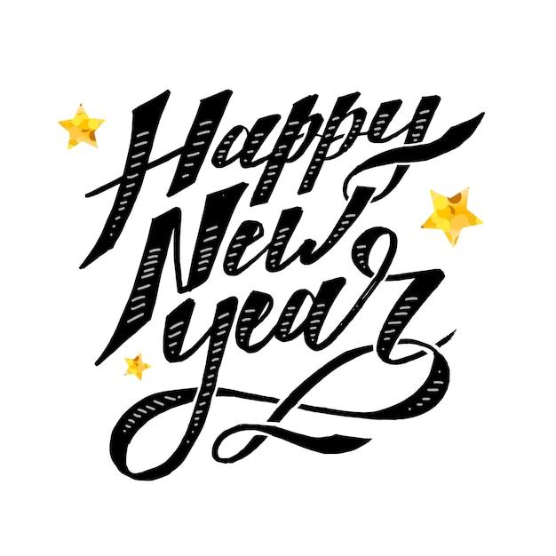 Spazzola di calligrafia dell'iscrizione di frase di vettore del buon anno Vettore Premium
