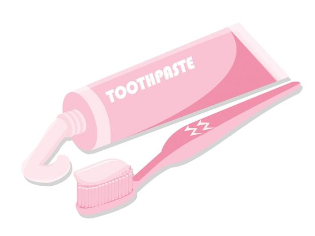 Spazzolino da denti di concetto di dentsl con dentifricio in pasta isolato su bianco Vettore Premium
