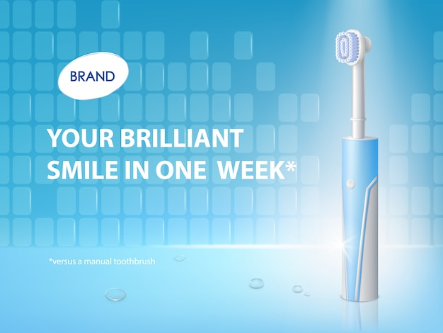 Spazzolino da denti realistico 3d sul manifesto dell'annuncio. banner promozionale con prodotto per l'igiene. Vettore gratuito