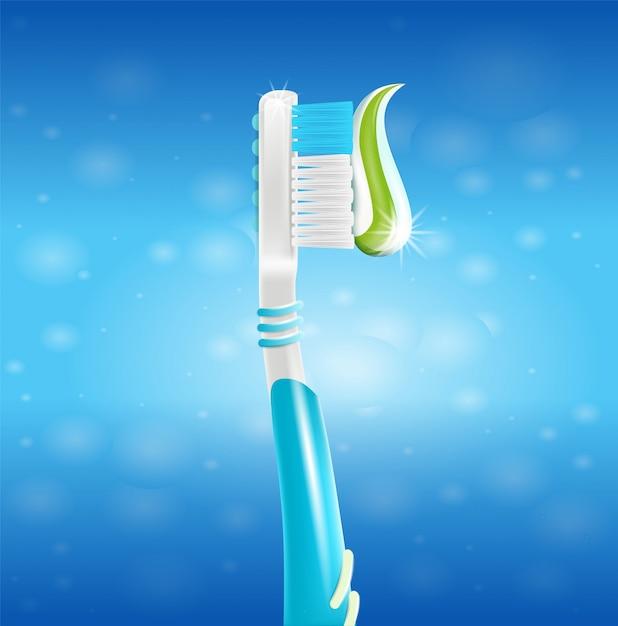 Spazzolino da denti realistico dell'illustrazione con pasta in 3d Vettore Premium