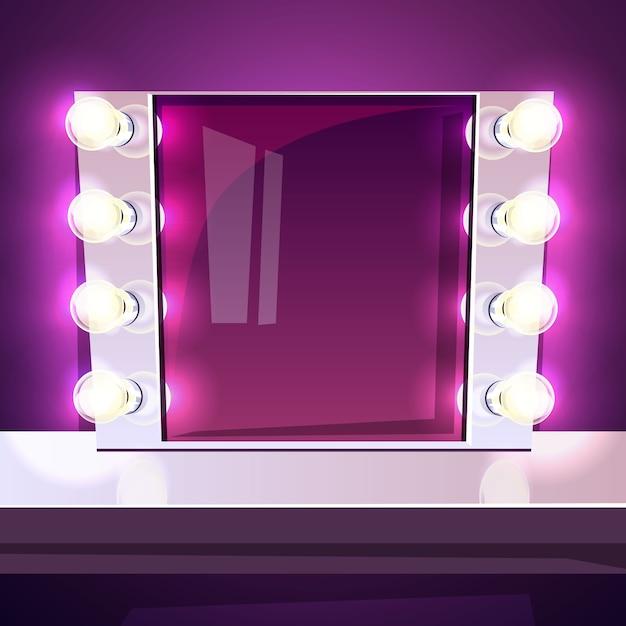 Specchio per il trucco con lampade illustrazione nella cornice bianca retr con lampadine - Specchio cornice bianca ...