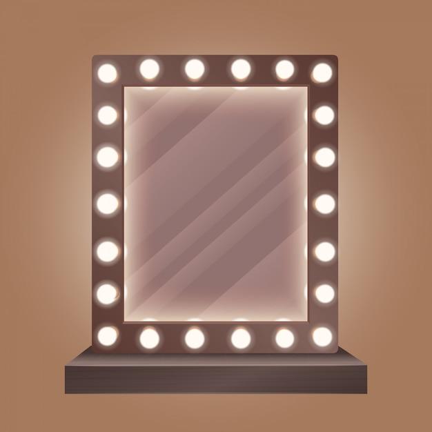Specchio per il trucco realistico con lampadine Vettore Premium