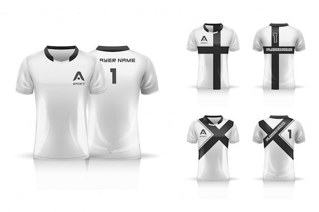 Specifica modello da calcio, modello esport gaming t shirt jersey. set da collezione uniforme. illustrazione Vettore Premium