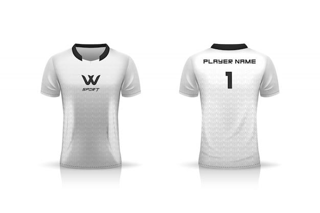 Specifica modello da calcio, modello esport gaming t shirt jersey. uniforme. illustrazione Vettore Premium