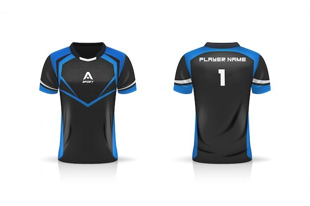 Specifica modello da calcio, modello esport gaming t shirt jersey. uniforme mock up. disegno di illustrazione vettoriale Vettore Premium
