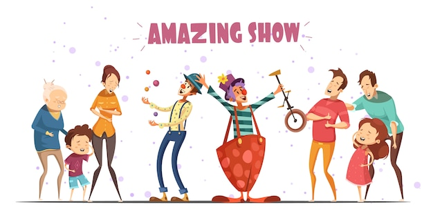 Spettacoli di spettacolo pubblico per clown circolari per esilaranti ridenti persone con bambini e nonni Vettore gratuito