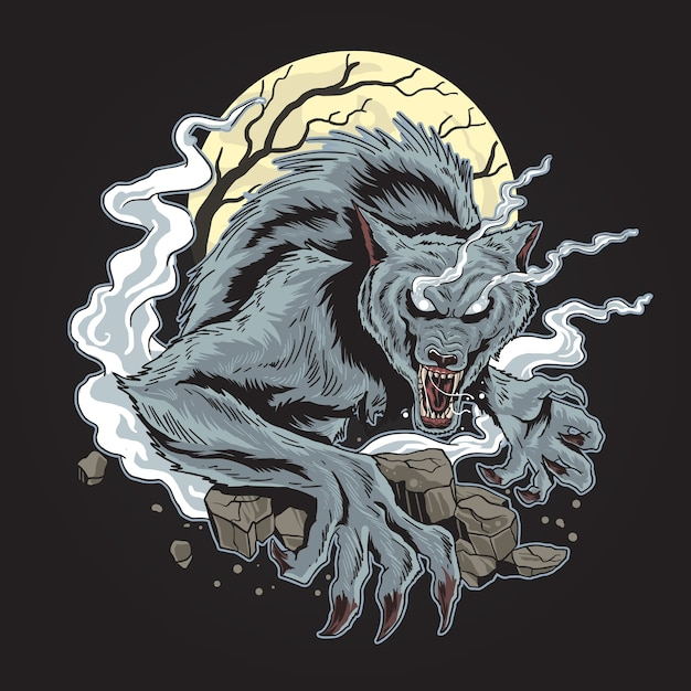 Spettrale horor wolf halloween Vettore Premium