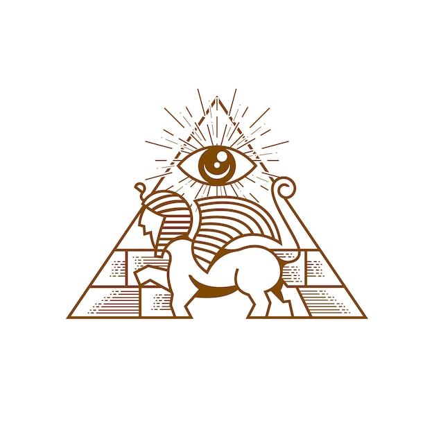Sphinx pyramid guardian illustration Vettore Premium