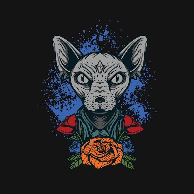 Sphynx cat t-shirt design Vettore Premium