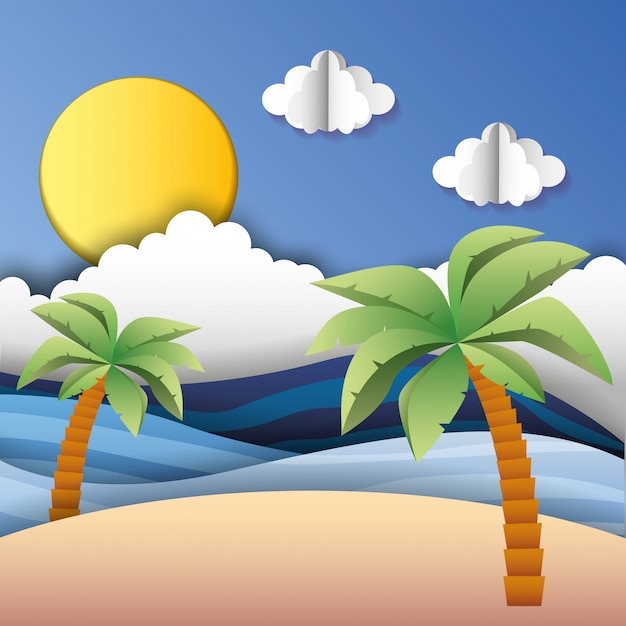 Spiaggia assolata con nuvole Vettore Premium