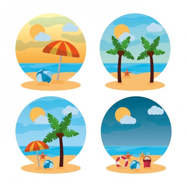 Spiaggia di scena diversa paesaggio estivo Vettore gratuito