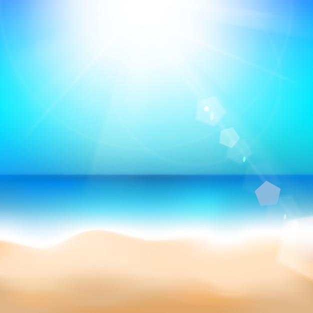 Spiaggia e mare tropicale. Vettore gratuito