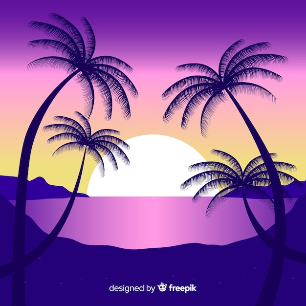 Spiaggia tramonto paesaggio sullo sfondo Vettore gratuito