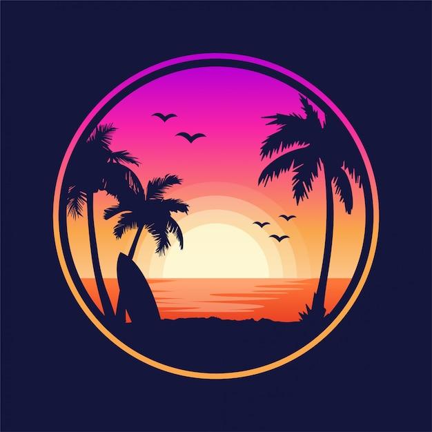 Spiaggia tropicale paesaggio al tramonto Vettore Premium