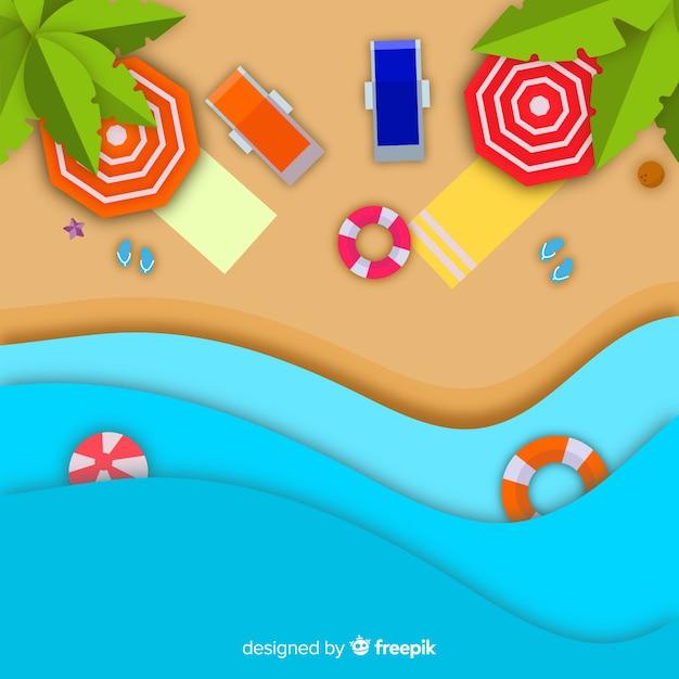 Spiaggia vista dall'alto in stile carta Vettore gratuito