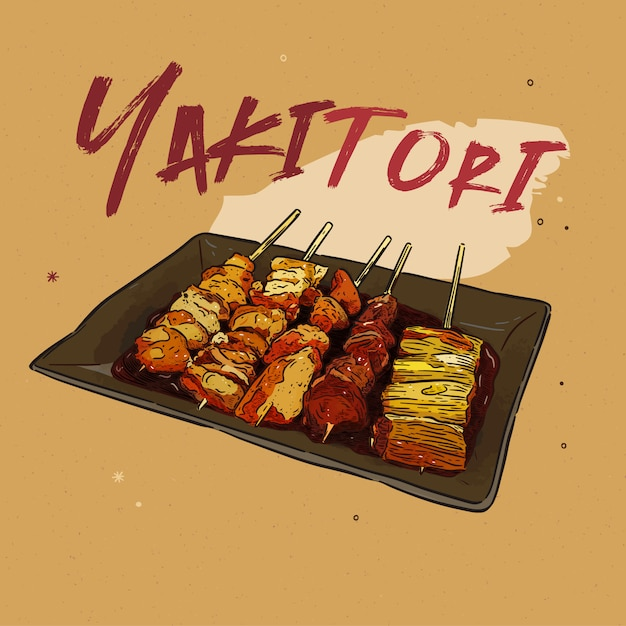 Spiedini yakitori disegnati a mano, cibo giapponese. Vettore Premium
