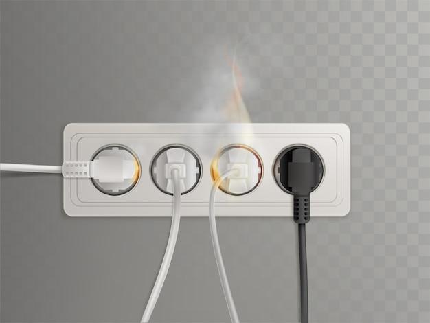 Spina fiammeggiante in presa elettrica orizzontale Vettore gratuito