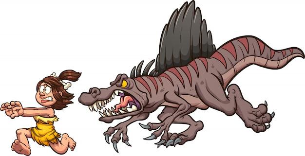 Spinosaurus insegue la donna Vettore Premium