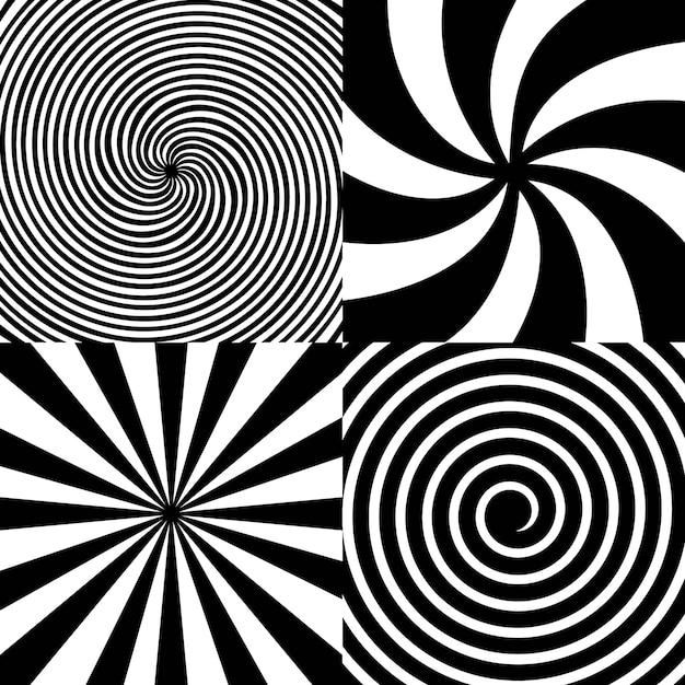 Spirale psichedelica ipnotica, volteggiare, vortice. Vettore Premium