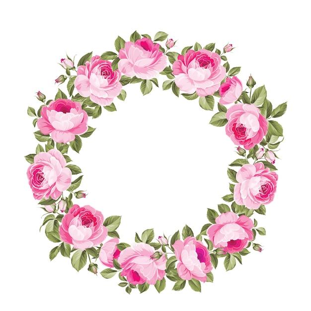 Splendida ghirlanda di ghirlande di rose in fiore Vettore Premium