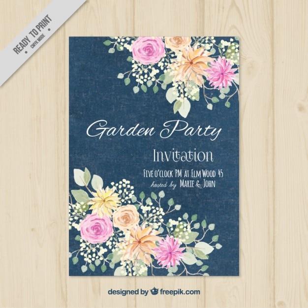 Splendido giardino invito a una festa Vettore gratuito