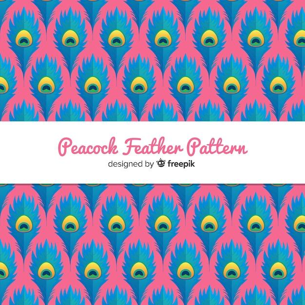 Splendido motivo di piume di pavone con design piatto Vettore gratuito