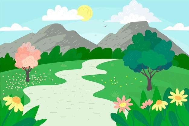 Splendido paesaggio primaverile Vettore gratuito