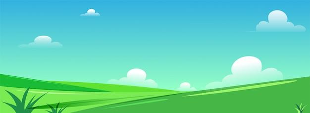 Splendido paesaggio verde. Vettore Premium
