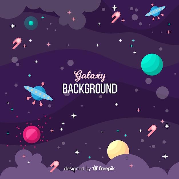 Splendido sfondo galassia con design piatto Vettore gratuito