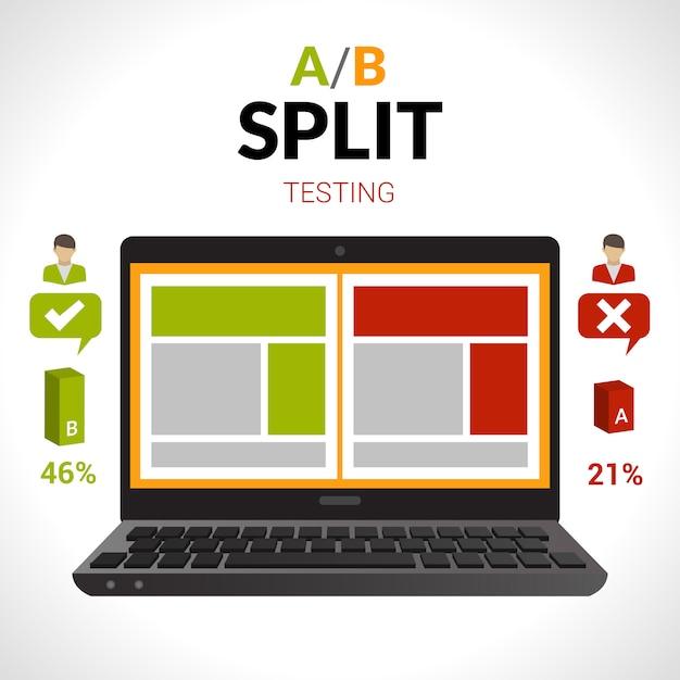 Split testing concept Vettore gratuito