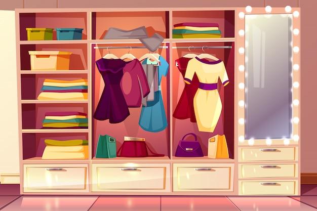 Spogliatoio di cartone animato di una donna. guardaroba con vestiti, appendiabiti con costumi Vettore gratuito