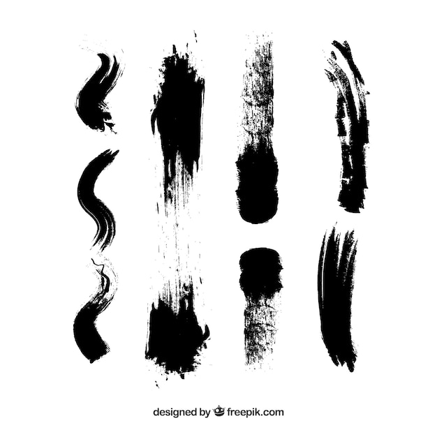 Sporco colpi inchiostro trama acquerello pennello nero Vettore gratuito