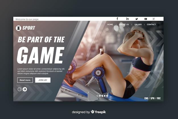 Sport atterraggio pagina grigia con foto e forme geometriche Vettore gratuito