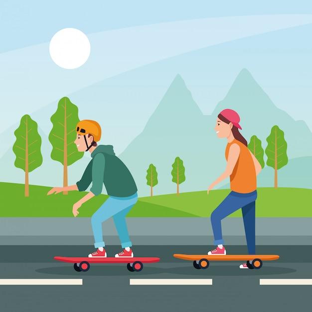 Sport attività sportiva all'aperto dei cartoni animati Vettore Premium