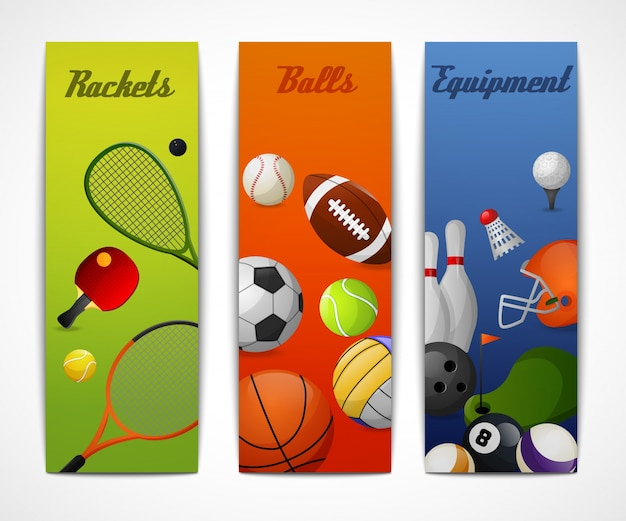 Sport banner verticali Vettore gratuito