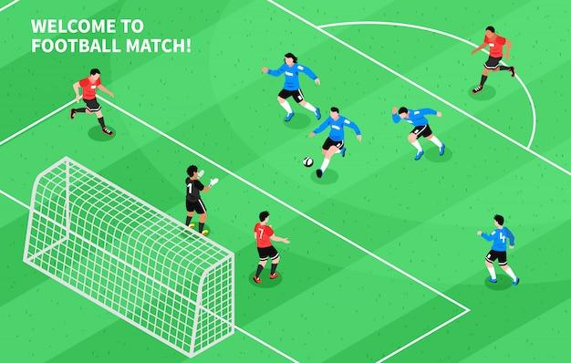 Sport calcio calcio isometrico Vettore gratuito