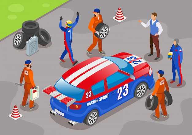 Sport da corsa con simboli vincitori della squadra corse isometrici Vettore gratuito