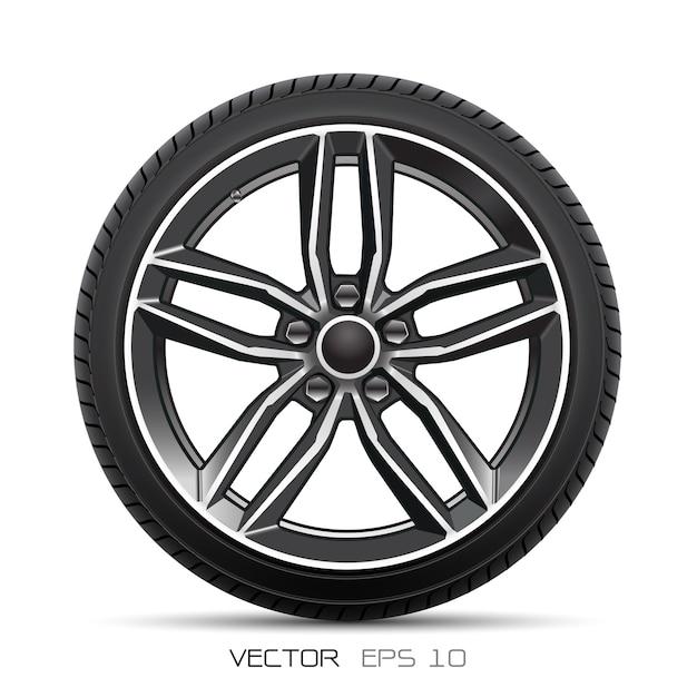 Sport di stile della gomma di automobile della ruota di alluminio su fondo bianco. Vettore Premium