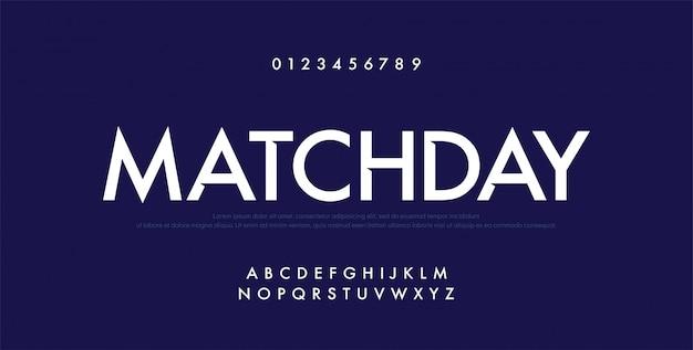 Sport futuro alfabeto moderno font e numero Vettore Premium