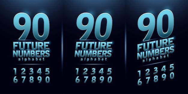 Sport futuro numero blu bagliore alfabeto moderno carattere Vettore Premium