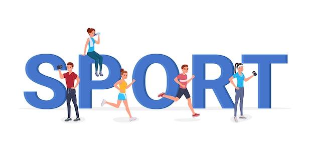 Sport grandi lettere piatte Vettore Premium