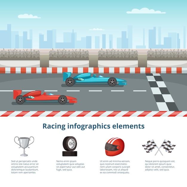 Sport infografica con auto da corsa di formula uno. diverse macchine e strumenti di guida Vettore Premium