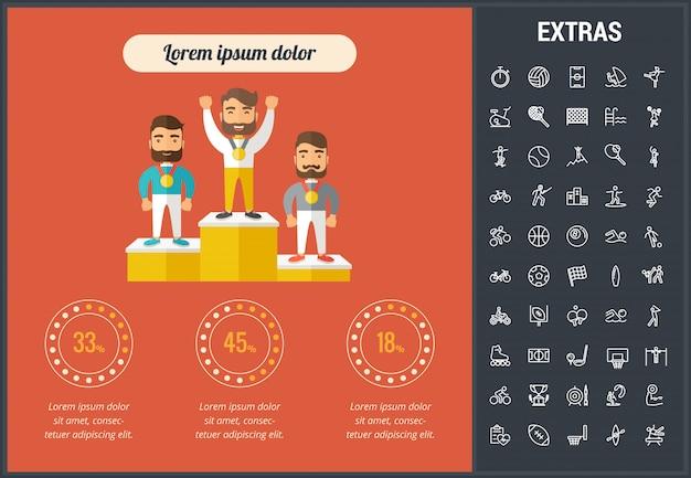 Sport infografica modello, elementi e icone Vettore Premium