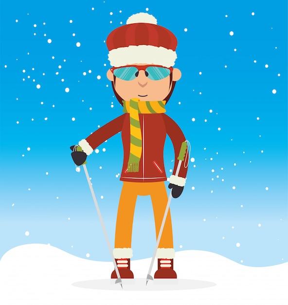 Sport invernali e abbigliamento moda Vettore Premium