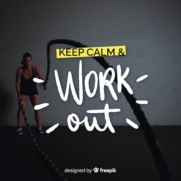 Sport lettering sfondo con foto Vettore gratuito