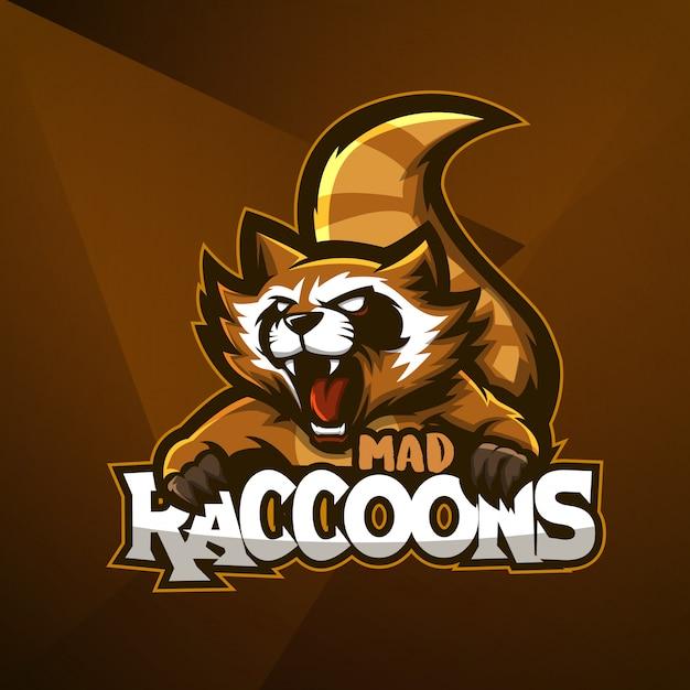 Sport mascotte logo design modello vettoriale esport procione animale pazzo arrabbiato Vettore Premium