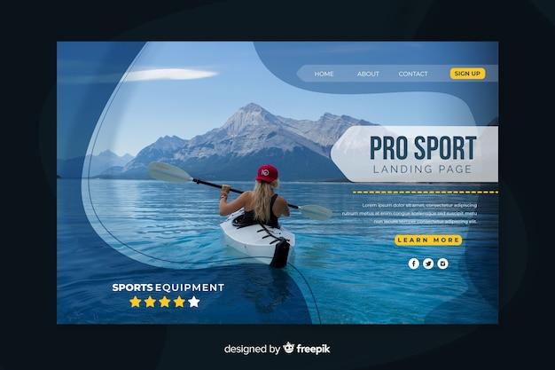 Sport modello di pagina di destinazione con foto Vettore gratuito
