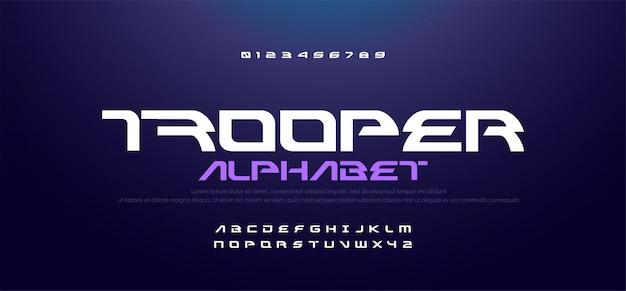 Sport moderno tecnologia alfabeto e numeri caratteri Vettore Premium