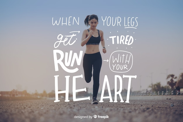 Sport motivazionale lettering sfondo con foto Vettore gratuito